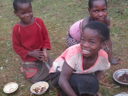 Kamerun, dzieci szukają termitów pod kamieniami